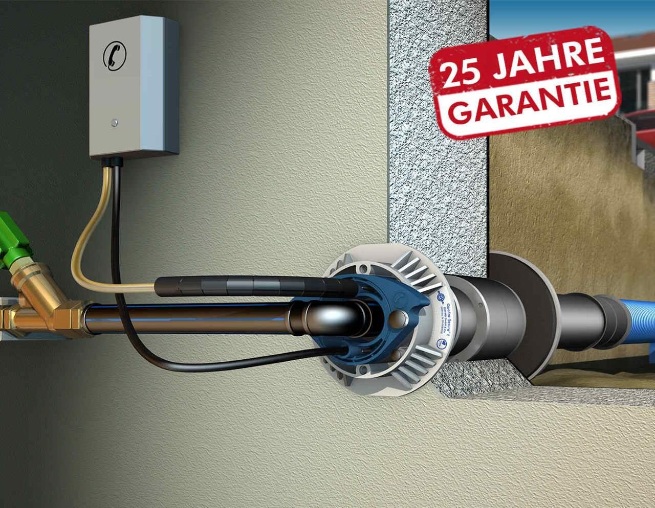 DOYMA 1-Spartenhauseinführung (Strom+TK / Wasser+TK) für unterkellerte Gebäude
